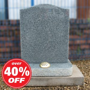 Light Grey Ogee Headstone with Flower Container