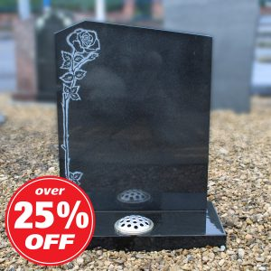Black Granite Climbing Rose Headstone