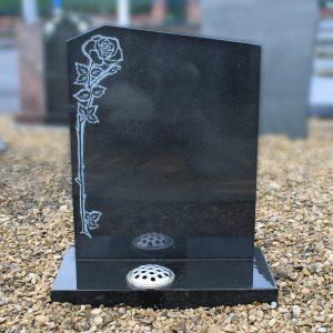 Black Granite Climbing Rose Headstone