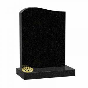 Black granite half ogee top lawn memorial