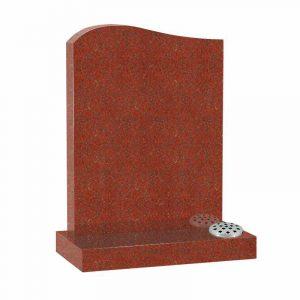 Red granite half ogee top lawn memorial
