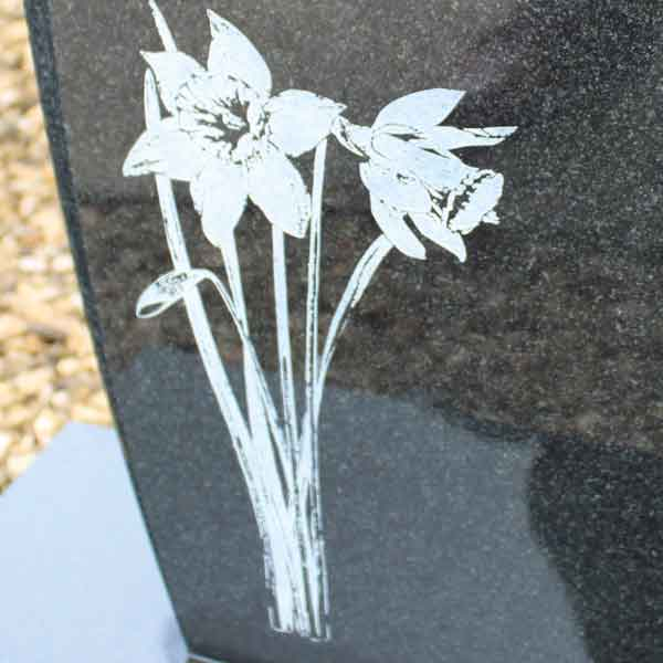 WS Moore etched headstone memorial